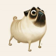 Patton the pug...in deep think mode. Character design - animals.