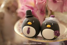 Penguins MochiEgg wedding cake topper