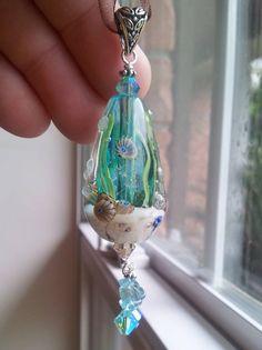 new under water pendant !! order yours today !! lampwork glass bead pendant www.moltenglassdesigns.com
