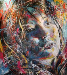 """David Walker uses spray paint to create beautiful graffiti portraits. He works under self-imposed constraints such as """"no brushes"""" and the results are quite stunning."""