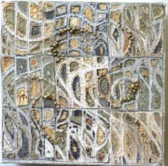 by Mary Stoudt. Made from 5 to 30 layers of fabric and are cut and stitched.  They are embellished with a variety of threads, beads, metal charms and felt.