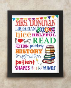 LIBRARIAN GIFT Personalized Librarian Gift by CornerHouseGraphics