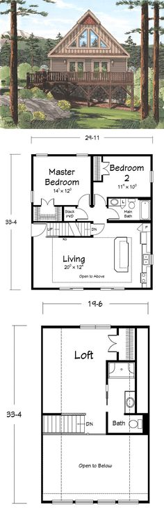 The June-Bug Chalet - Our House of the Month for June 2013. This is a wonderfully open floor plan!
