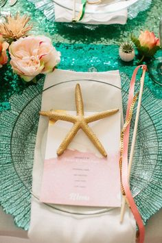 From the Little Mermaid fantasy wedding with Your Cloud Parade, find sequin table runners, colorful silk flowers and beach wedding decor, as seen here, at Afloral.com! Pinned from http://www.huffingtonpost.com/2014/10/24/little-mermaid-wedding-ideas_n_6044412.html#slide=4446054