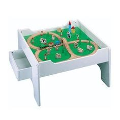 Amazon.com: Activity Table with 50-piece Wooden Train Set: Toys & Games