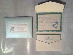 Starfish and Seahorse Pocketfold Wedding Invitation. $5.75, via Etsy.