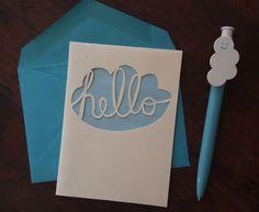 Papercut Card Cursive Hello Cloud by YourSecretAdmiral on Etsy, $12.00
