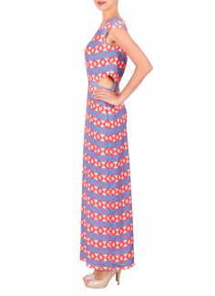 Cut out accents on each side add an airy appeal to this colorful moss crepe gown from Sougat Paul. With an all over geometric pattern over a repeat stripe print, this ankle length gown features cap sleeves, a round neckline and a simple zip back closure with a center back slit.