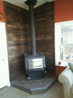 behind wood stove | Barnwood/tin/