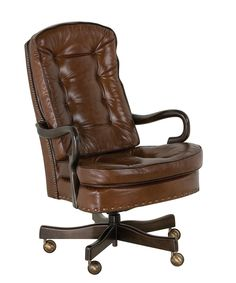 Classic Leather Semi Attached Goose Neck Swivel Tilt Chair | 706-ST