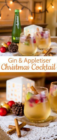 A gin and tonic with a twist. Swap the tonic for sparkling apple juice and add c… A gin and tonic with a twist. Swap the tonic for sparkling apple juice and add cranberry ice cubes for a simple, but stunning Christmas drink. Christmas Party Food, Christmas Cocktails, Xmas Food, Christmas Cooking, Holiday Drinks, Christmas Treats, Holiday Recipes, Christmas Recipes, Christmas Gin