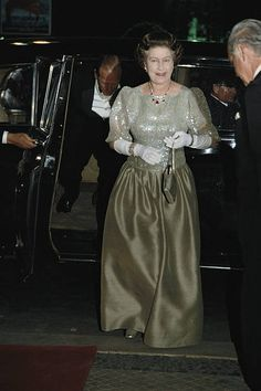 Queen Elizabeth II wearing a dark green ballgown to an unidentified event during her fiveday state visit to Portugal 27 March 1985