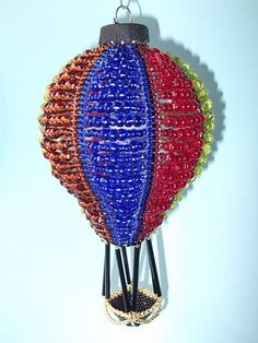 beaded hot air balloon ornament cover pattern | Up up and away beaded ornament cover by cathylikestocraft on Etsy