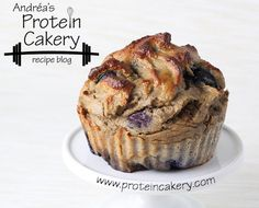 Prot: 30 g, Carbs: 21 g, Fat: 6 g, Cal: 258 Moist and delicious Blueberry Protein Muffins, a grain-free, gluten-free, high-protein recipe by Andréa's Protein Cakery.