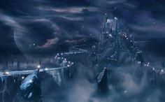 Fantasy castle - sky, cloud, mist, blue, night, light, moon, bridge, planet, fantasy, castle