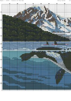 Giants of the Sea 1 Beaded Cross Stitch, Cross Stitch Embroidery, Cross Stitch Designs, Cross Stitch Patterns, Pixel Design, Animal Design, Under The Sea, Cross Stitching, Dolphins