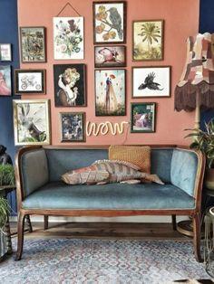 Home Design, Home Office Design, Serene Bedroom, Room Decor Bedroom, Interior Design Themes, Interior Decorating, Velvet Wallpaper, Deco Retro, Decorating Bookshelves