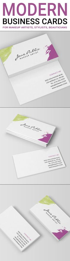 A modern business cards design with colorful green and purple painted corners. This simple, eye catching design was created to suit businesses and people working in the beauty industry, including makeup artists, cosmetologists, stylists, hair stylists or nail technicians. The modern design is two sided and features your name and job title on the front of the card. The back side includes your contact details in a clear, easy readable manner. Modern business cards by J32 Design