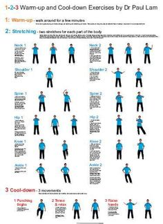 Warm Up and Cool Down Exercises Wall Chart - Dr Paul Lam Tai Chi Productions USA LLC