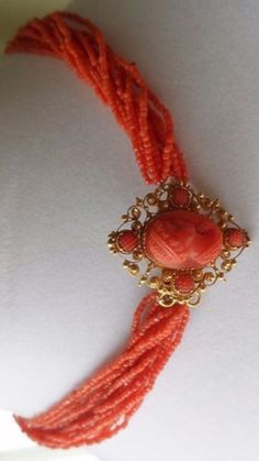 Antique Carved Coral Necklace With The Center Piece Having Flower Blossoms And Love Birds And Beaded Tassels - Italy c. Mid 19th Century