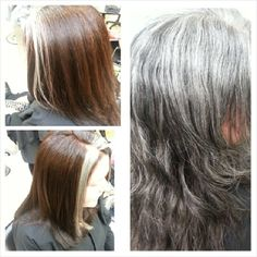 This awesome client has had gray hair since she was 16! She was ready for some color but wanted to keep some gray so she still felt like herself! We went with a warm dark brown all over color an left some gray right around her face. She loved it. #bymario #mariotricociarlingtonheights #wella #darkbrown #Koleston #wellalife #stacylondon