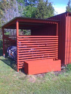 Bildresultat för cykelskjul Plank, Fence, Shed, Outdoor Structures, Summerhouse Ideas, Garden, Storage Ideas, Home, Tips