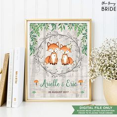Rustic Woodland Wedding Decor. Cute Fox Bridal Shower Gift. Watercolor Greenery Forest PRINTABLE Wall Art. Bride & Groom. Mr and Mrs