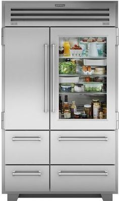 Sub-Zero 48 Inch Built-In PRO Series Glass Door Refrigerator/Freezer with cu. Total Capacity, 3 Adjustable Refrigerator Glass Shelves, Automatic Ice Maker, and Water Filtration System, in Subzero Refrigerator, Glass Door Refrigerator, Side By Side Refrigerator, Bottom Freezer Refrigerator, Built In Refrigerator, Best Counter Depth Refrigerator, Refrigerator Decoration, Design Lounge, Design Design