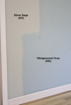 Wow - I pinned these two colors earlier. Wedgewood is obviously way too blue. Comparing Silver Sage (Restoration Hardware) and Wedgewood Gray (Benjamin Moore)