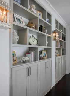 Most Popular Cabinet Paint Colors Bookshelves painted with Mindful Gray Benjamin Moore. Grey Kitchen Cabinets, Kitchen Cabinet Colors, Built In Cabinets, Painting Kitchen Cabinets, Glass Cabinets, Glass Shelves, Kitchen Nook, Open Shelves, Kitchen Paint