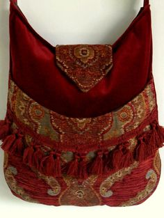 Tapestry Gypsy Bag Messenger Bag Bohemian Brick by piperscrossing