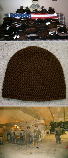 Beanies for Bravery ~ basic free pattern by Michelle Miller on Ravelry.  **Beanies for Bravery needs donations for active duty military personnel serving overseas.  They will accept hats from ANY crocheted or knitted pattern as long as they are in BROWN or BLACK, & meet sizing requirements on the Snappy Tots site ~ http://snappy-tots.com/cause/