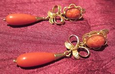 Antique 18k gold Victorian drop dangling earrings, blood coral, cameo's