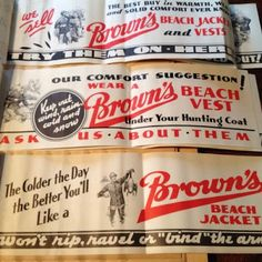 Some recently unearthed Brown's Beach Jacket print advertising dating from the thru Shared along with the photos below was.