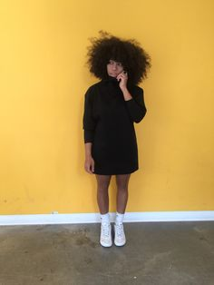 roll neck sweater dress and white sneakers, street style inspiration, afro natural hair, curly hair
