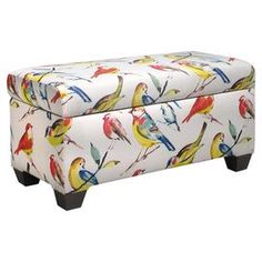 """Pine wood storage bench with bird-print upholstery and foam padding. Handmade in the USA.   Product: Storage benchConstruction Material: Pine, polyester, polyurethane foam padding and fabricColor: Bird watch summerFeatures:  Handmade in the USAHinged Top Dimensions: 18.5"""" H x 38"""" W x 18"""" DCleaning and Care: Spot clean only   I have no idea where but I love it!"""