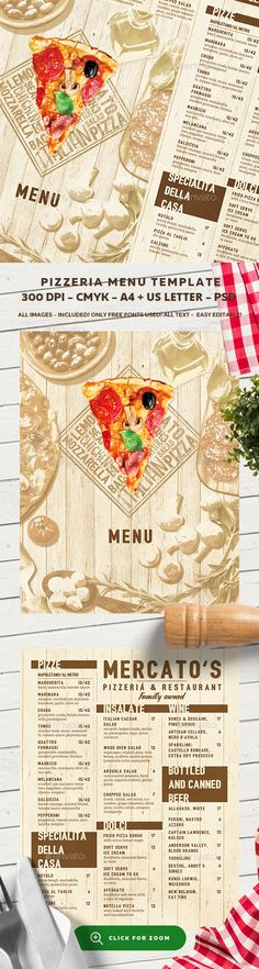 Pizza menu design A4 size and flyer layout template Restaurant - lunch menu template free