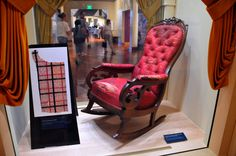 The rocking chair Abraham Lincoln was assassinated in 1865 is still stained with his blood.