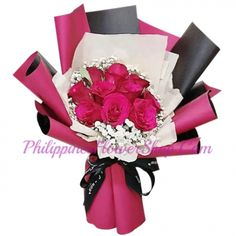 it's like fairies pick them and made this little cutie. The combination of this bouquet and these 10 pink roses along with leaves looks cute, and amazing! Pink Rose Bouquet, Pink Roses, Pink Flowers, Online Flower Shop, Gentleness, Flower Delivery, Femininity, Philippines, Appreciation