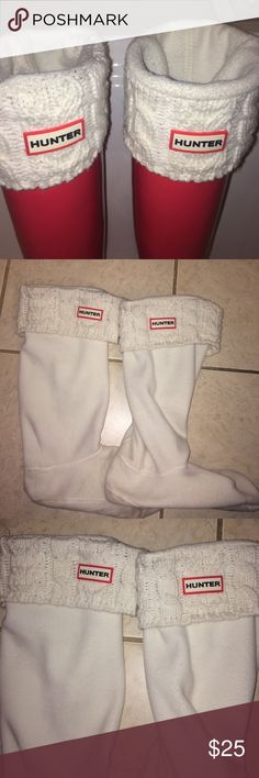 White hunter boot socks (tall boots) Size 8-10 women's, only worn a few times Hunter Boots Accessories Hosiery & Socks
