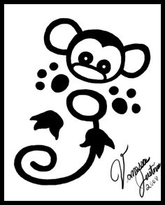 small monkey tattoos | want this and my youngest son's name with it..
