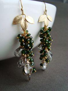 Green Gemstone Earrings Emerald Vessonite Wire Wrapped