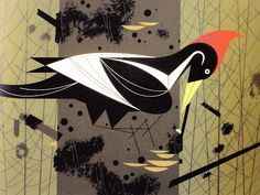 Reminds me of the Pilltated Woodpecker, Charley Harper Charley Harper, Cartoon Birds, Nature Artists, Fisher, Mid Century Art, Bird Art, All Art, Illustrations, Art Lessons