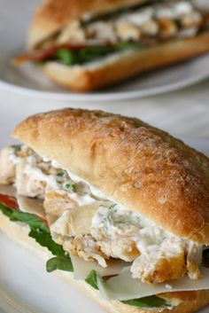 Chicken Caesar Sandwiches -- Serve with New York Style Brand Bagel Crisps - A unique snack with craveable flavors and a healthy halo. www.newyorkstyle.... #sandwiches #chickencaesar #lunchtime