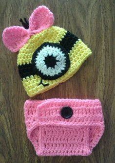 Despicable Me Hat & Diaper Cover, Girl Yellow Minion ~ Photo Prop ~ Newborn #Handmade