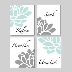 This bathroom decor wall art set of 4 8x10 prints features the words Relax, Soak, Breathe, Unwind in a soothing font surrounded by floral petals. Customize in colors to match your bathroom decor. Looks fabulous above the bathtub! Want a different size? Just ask!  ***This print set is on sale for $45 for A LIMITED TIME ONLY! Regular price is $65***  CUSTOMIZE: In the note to seller section at checkout, please let me know your choice of colors. I can even match your shower curtain! If you…