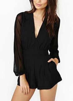 Above Knee Long Sleeve V Neck Black Mini Rompers