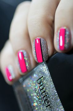 Hot pink and holographic manicure