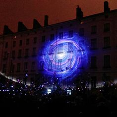 Galaxy on a Wall in Lyon, Festival of Lights, 2014.