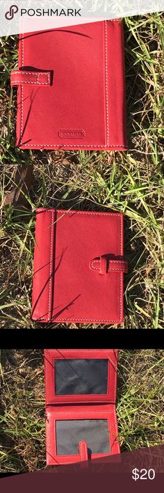 Coach ID card wallet Has markings and needs cleaned on one plastic cover otherwise like new X small ID size Red  Some items come from homes w pets or smokers I travel and will get any messages after I land Coach Bags Wallets